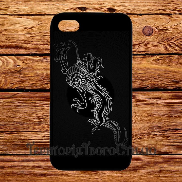 Чехол 2D силиконовый (TPU) iPhone 5/5S Черный. Дракон