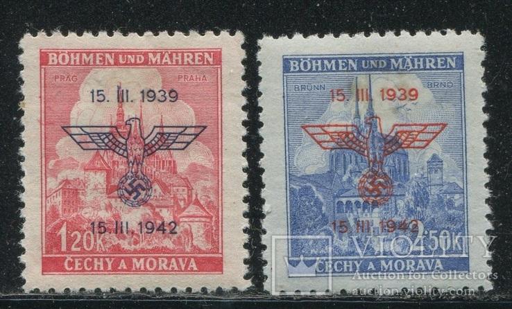 Рейх Богемия и Моравия орлы надпечатки  полная серия