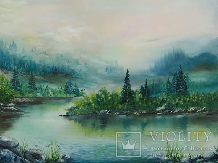 Горное озеро, худ. Высочинская Т.Г., 65х85см, масло