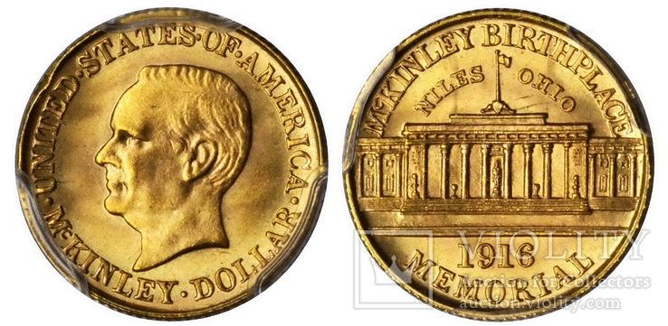 США $1 McKinley Memorial Gold Dollar 1916г.