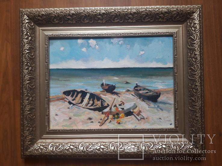 """Копия Эдуарда Кальныньша """"Рыбацкие лодки"""". Холст, масло,размер 30 на 40, фото №2"""