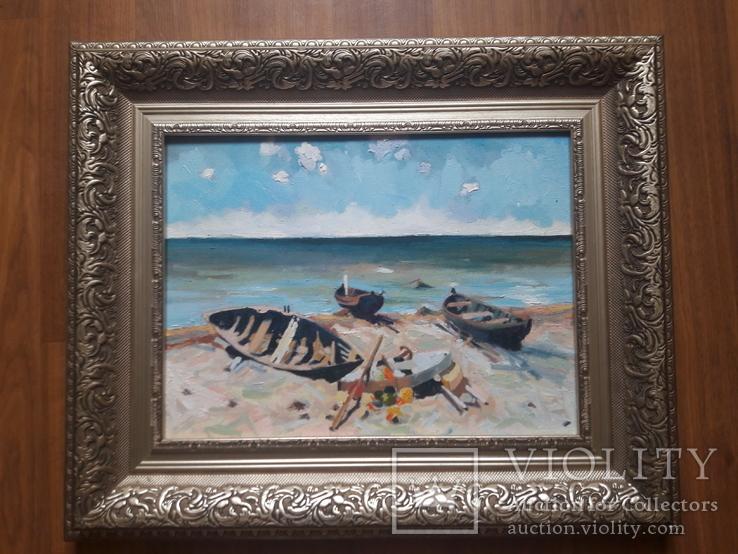"""Копия Эдуарда Кальныньша """"Рыбацкие лодки"""". Холст, масло,размер 30 на 40, фото №3"""