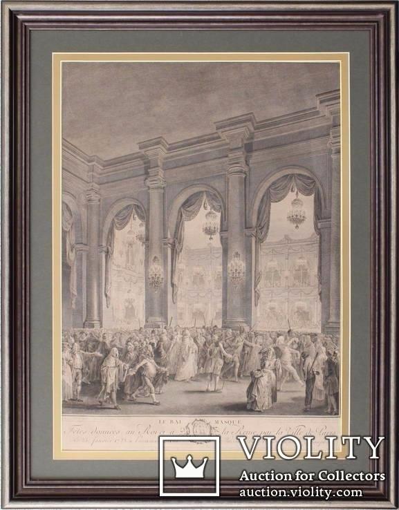 Французкая старинная гравюра XVIII века