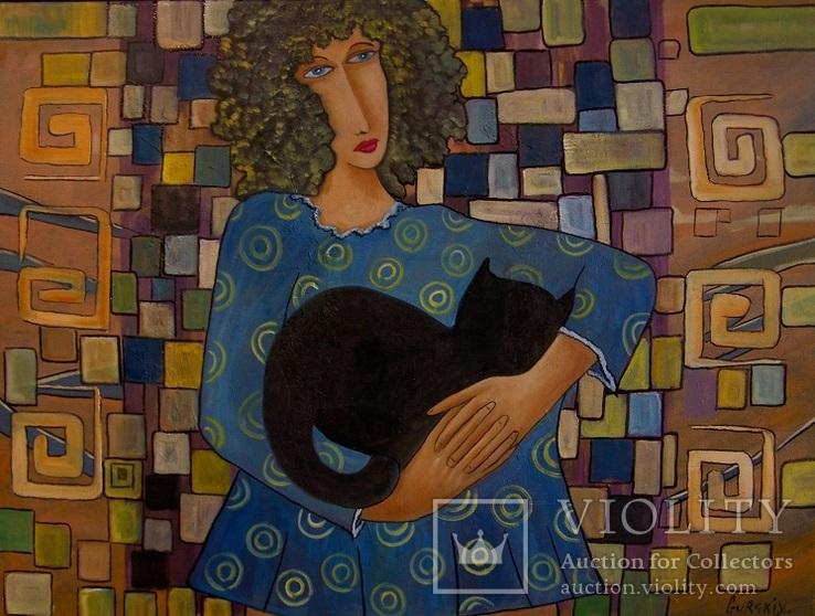 Холст,Масло. '' Девушка с кошкой '' 45 * 60 см. 2018г.