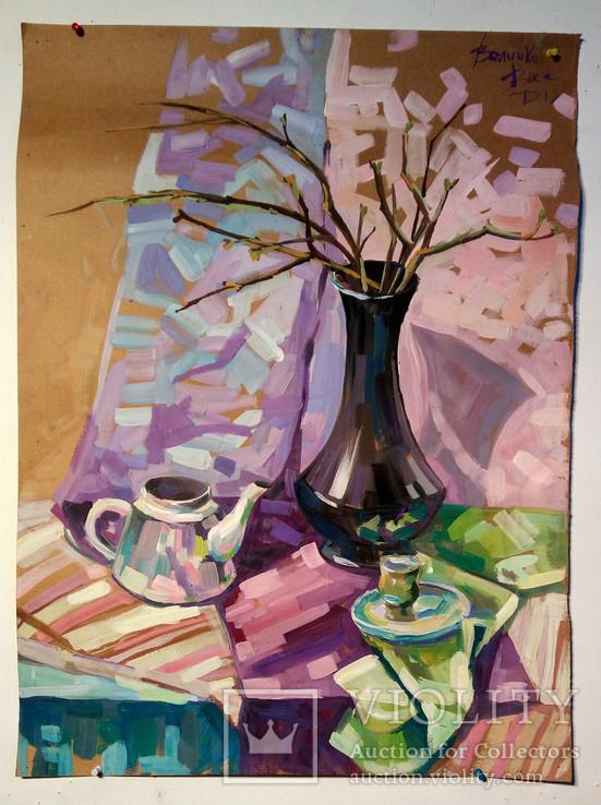 Чайник, з вазою з котиками.