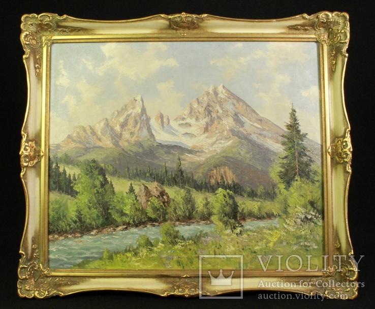 Горный пейзаж. Масло. Egon J. ROSBROY (1905-1974). Германия. (0958)