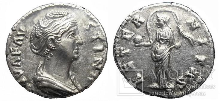 Денарий Фаустина старшая 141 г. н.э.