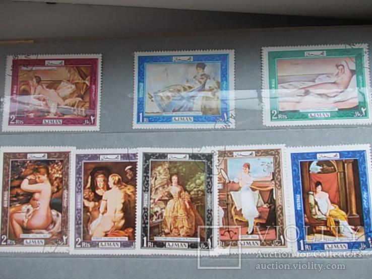 Большой альбом марок мира. Живопись Ню. Большая коллекция.492 шт.