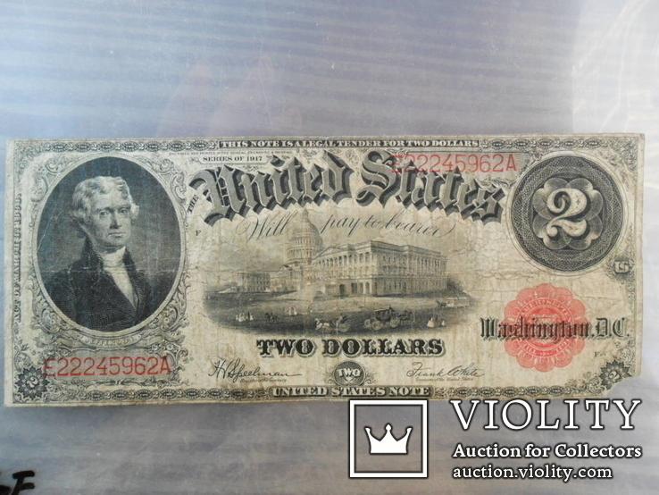 2 Доллара 1917 с красной печатью