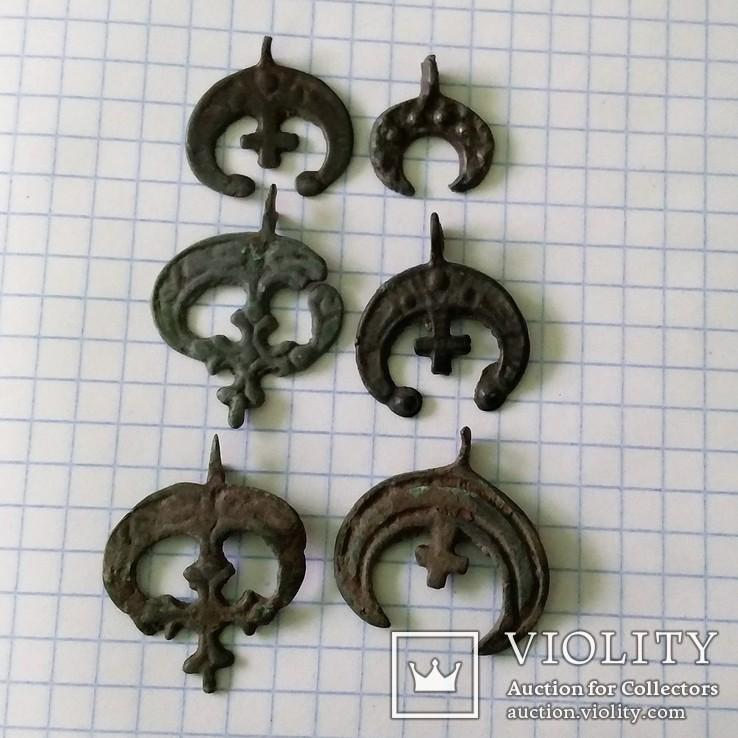 Крестовключенные лунницы и подвески (КР) 9 штук