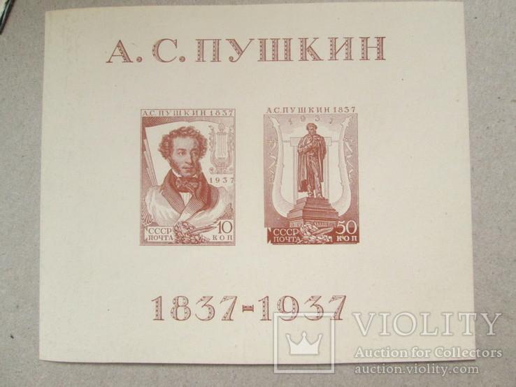 Пушкин 1937 MNH (105 x 90mm)