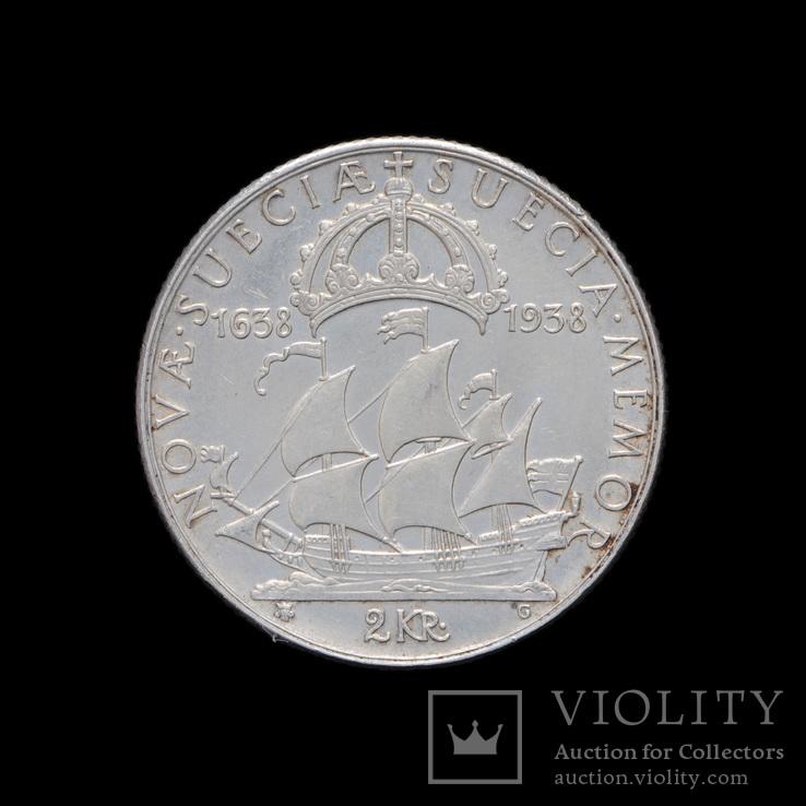 2 Кроны 1938 300 лет поселению Делавэр Швеция