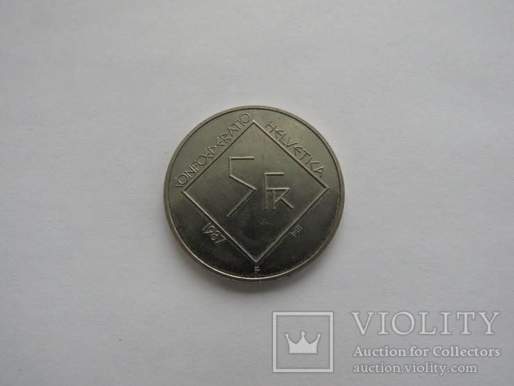 5 франков Швейцария 1987, фото №3