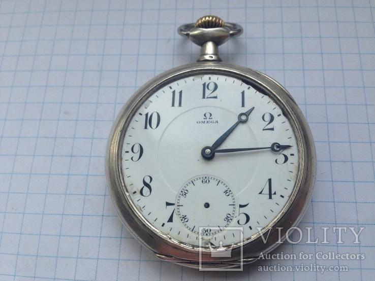 Карманные часы Omega.  серебро.