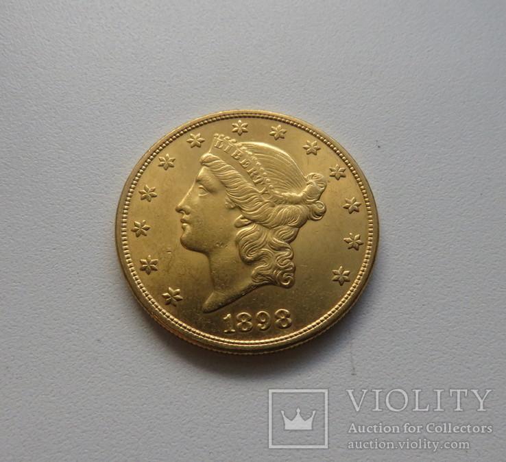 20 $ 1898 год США золото 33,4 грамма 900`