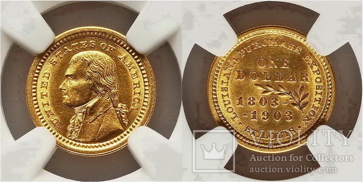США $1 Louisiana Purchase, Jefferson Gold Dollar 1903г.