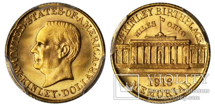 США $1 McKinley Memorial Gold Dollar 1916г.