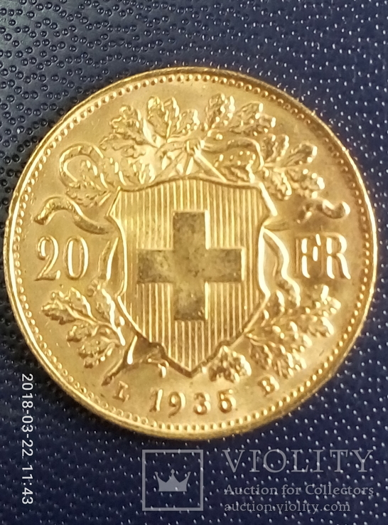 20 франков Швецария 1835 год