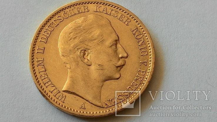 20 Марок Пруссия 1909 г. Золото (900 проба 7,98 грм.)