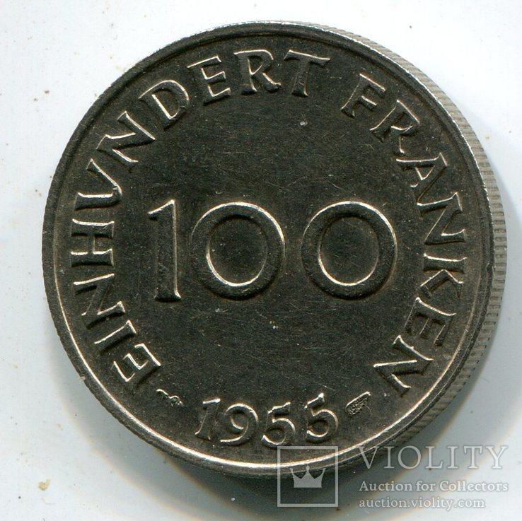 100 Франков 1955  Саар, фото №2