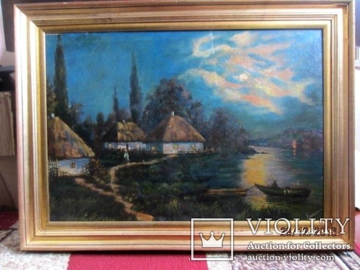 """Старая картина """"Сельский пейзаж"""" Поляков, фото №2"""