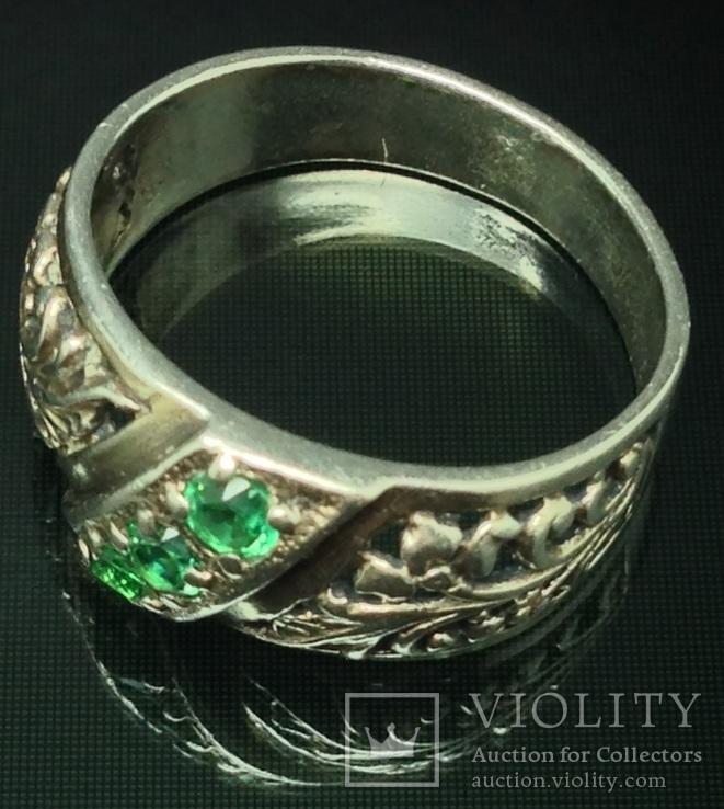 Кольцо, зеленые камни, фото №4