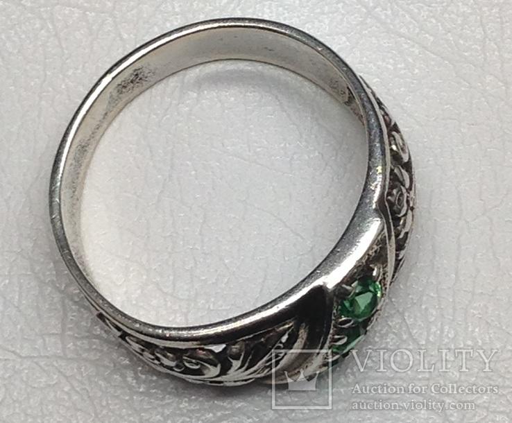 Кольцо, зеленые камни, фото №7