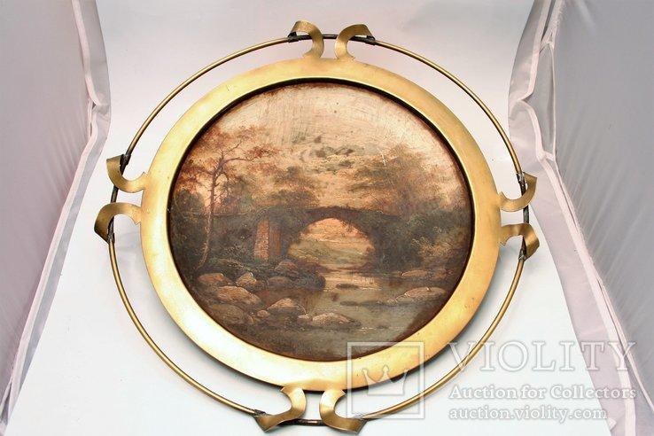 XIX wieczny obraz na metalu