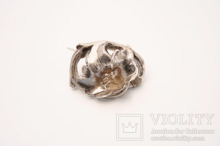 Srebrna broszka z kwiatem - Biedermeier