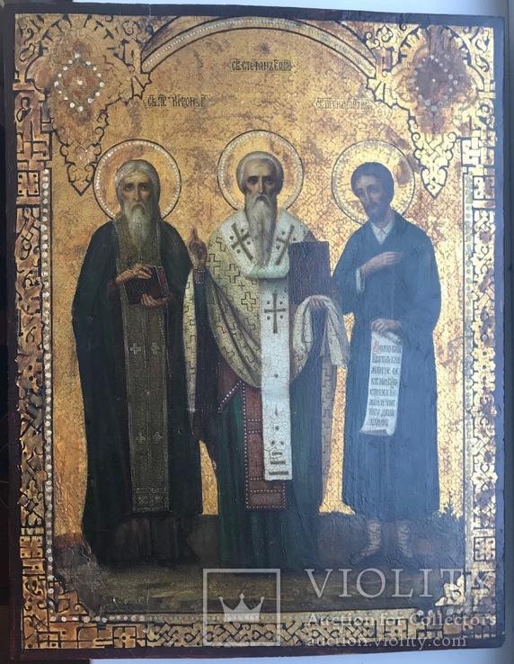 Икона прп. Трифон Вятский, свт. Стефан, епископ Пермский, прав. Симеон Верхотурский
