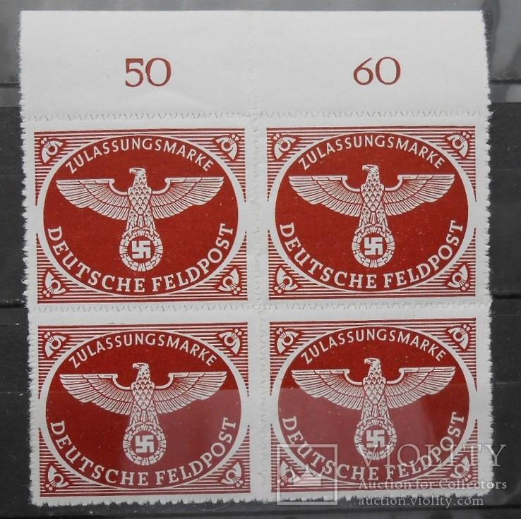 1942 г. Германия Feldpost Квартблок с полем (**)