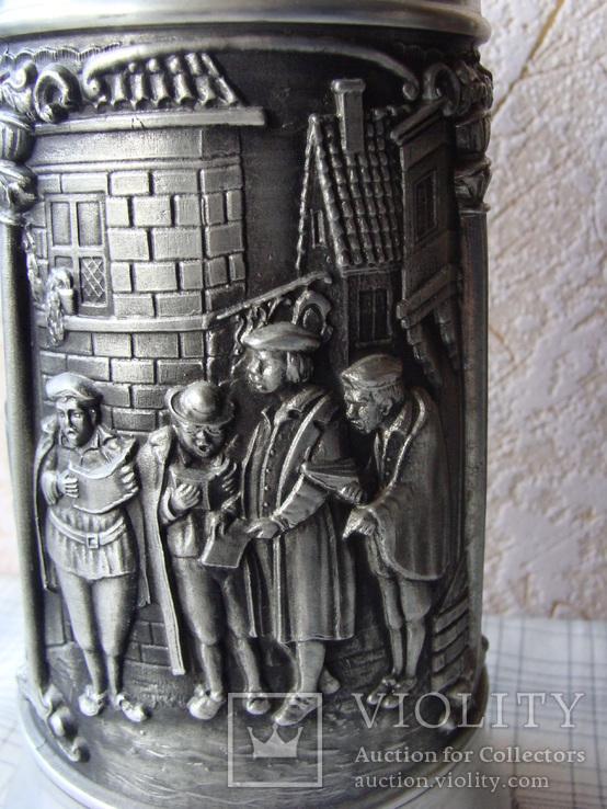 Большая Кружка Бокал из олова Серия Выдающиеся художники Карл Шпицвег. Клеймо., фото №11