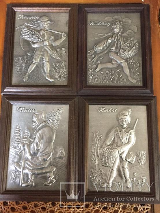 Набор оловянных панно «Времена года» Винтаж. Европа