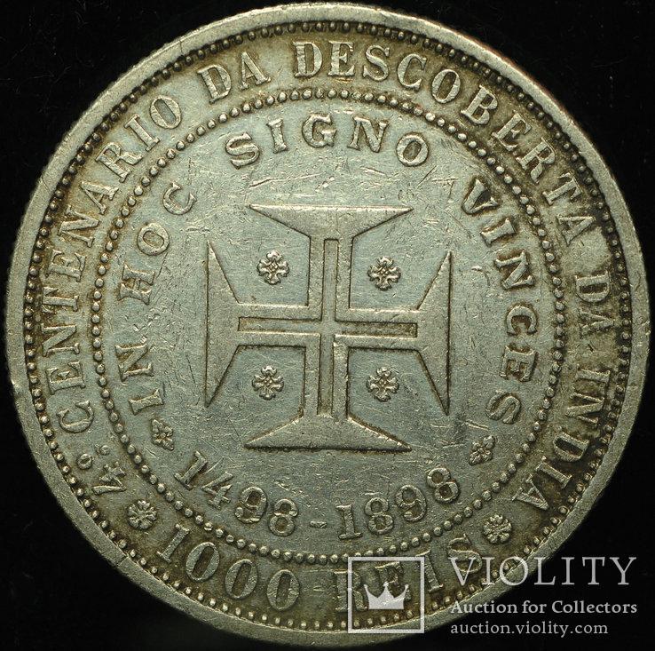 Португалия 1000 рейс 1898 серебро aUnc Открытие Индии