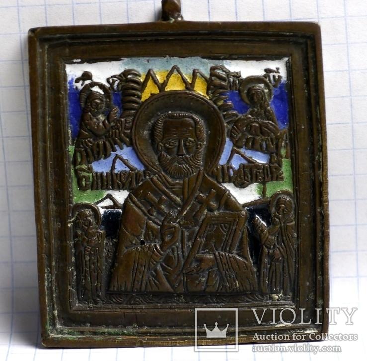 Иконка  Св.  Николай с предстоящими.( 7 цветов эмали.)