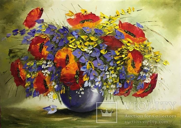 Картина «Полевой букет» масло мастихин 50х70
