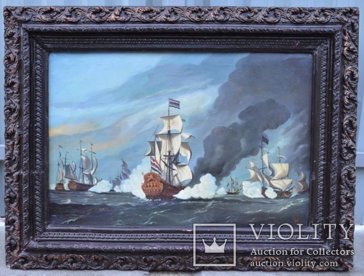 Подпись LSW ,,Морской бой,, холст, масло.