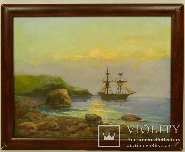 Подпись Карнатович А.К. 1995. ,,Закат солнца на море,, Картон, масло.