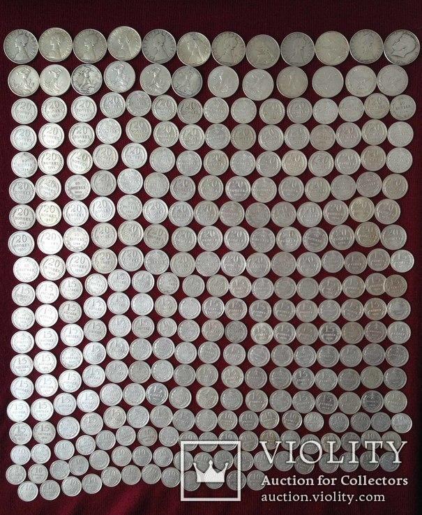 Лот серебряных монет 301 шт