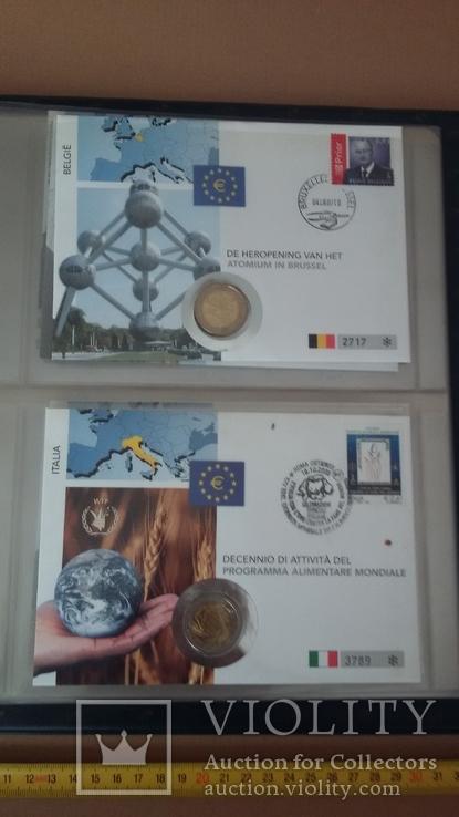 Семь монет по 2 евро в  семи конвертах и альбоме., фото №4
