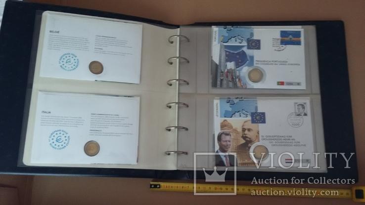 Семь монет по 2 евро в  семи конвертах и альбоме., фото №5