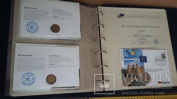 Семь монет по 2 евро в  семи конвертах и альбоме., фото №7