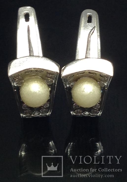 Серьги, жемчуг, цирконы, фото №2