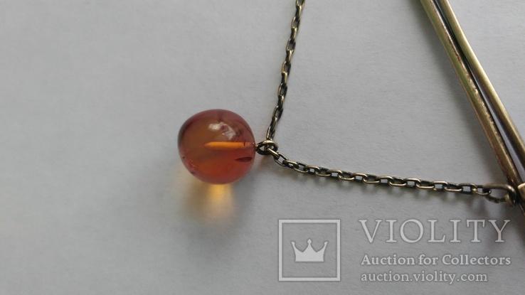 Зажим для галстука из серебра с янтарём 875 позолота, фото №3