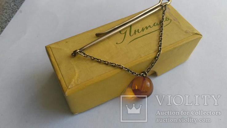 Зажим для галстука из серебра с янтарём 875 позолота, фото №9