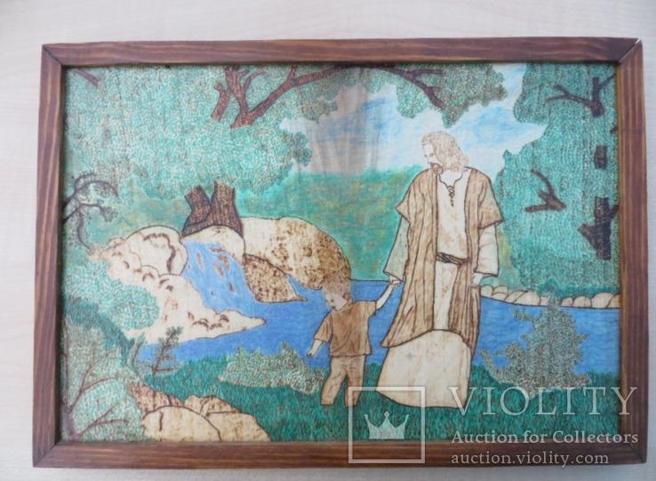 Картина Ісус з хлопчиком виражена на дереві та розмальована