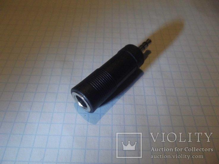 Стерео переходник для наушников с 3.5 на 6.3 мм ( корпус пластмасс)