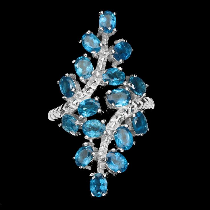 Кольцо 925 натуральный ААА голубой апатит.