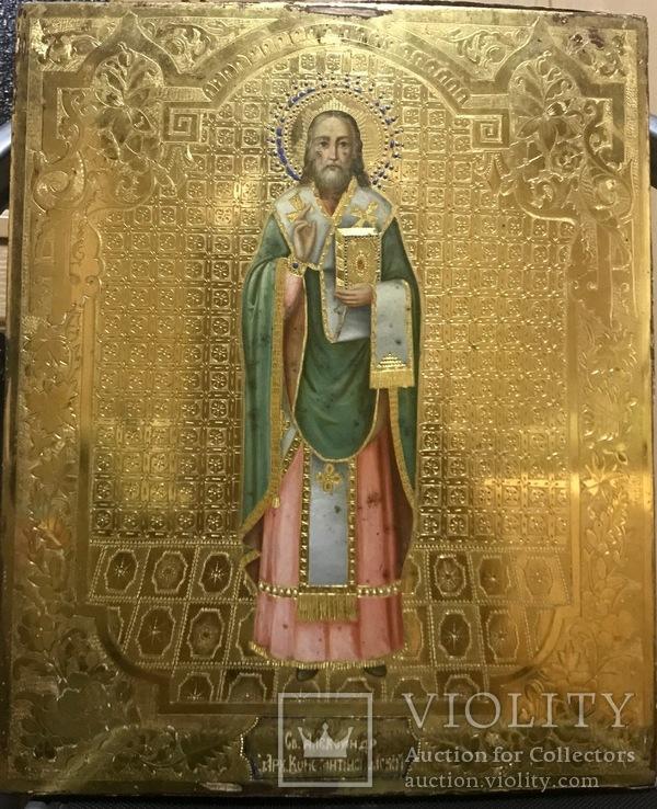 Икона Св. Александра Константинопольского на золоте 36*30*3 см.