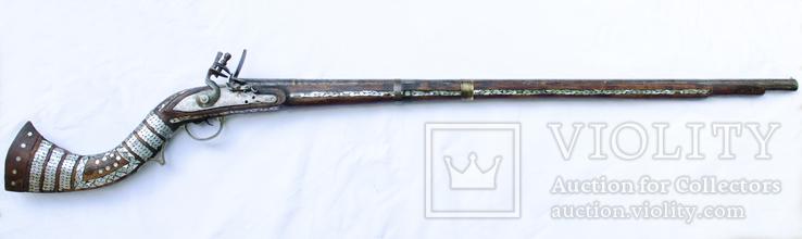 Афганское кремневое ружьё (длина см) с английским замком, богатые инкрустации, 19й век